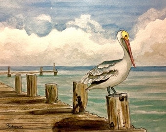 Standing Guard, original watercolor, 8x10 inches, pelican on the dock
