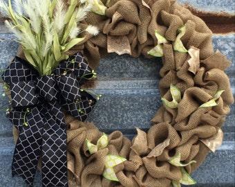 Everyday Burlap Wreath - Burlap Wreath - Large Burlap Wreath - Front Door Wreath - Rustic Burlap Wreath