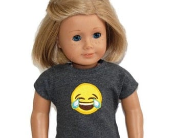 "LOL Emoji Cotton Tee Shirt - Grey - Doll Clothes made to fit 18"" American Girl Dolls"