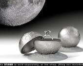 Full Moon Engagement Ring Box - proposal ring box, wedding ring, marriage, matrimony, bridal, nuptials, espousal, gift, case, jewel, stand