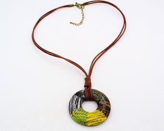 Handmade Necklace, 2 mm Genuine Leather Cord Necklace, Polymer Clay Donut pendant