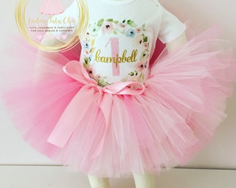 1st birthday tutu outfit - shabby chic birthday outfit - flower birthday outfit - garden theme birthday party - 1st birthday floral wreath