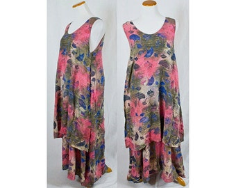 Vintage Batik Multi Colored Rayon Multi Layered Dress!! Size M