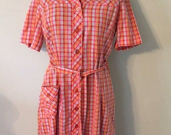 1950s Vintage Shirtdress/Red,Orange,Light Blue/Mid Century Print Cotton