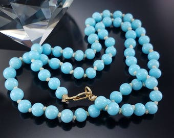 Vintage Glass Necklace Robin's Egg Blue Knotted Estate Strand Jewelry