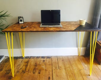 OSB desk with yellow steel hairpin legs and chalk board zone