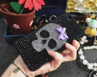 Bling Lovely Bow Punk Metal Silver Skull Fashion Sparkles Glossy Jewelled Crystals Rhinestones Diamonds Gem Hard Cover Case for Mobile Phone