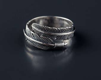 Vintage Resizable Feather Silver Ring