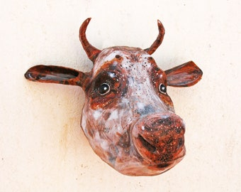 Cow art wall mount/paper mache animal head/faux taxidermy cow/restaurant decor/rustic kitchen decor/french country cottage/ rustic modern