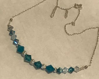 Blue Swarovski crystal and sterling silver necklace