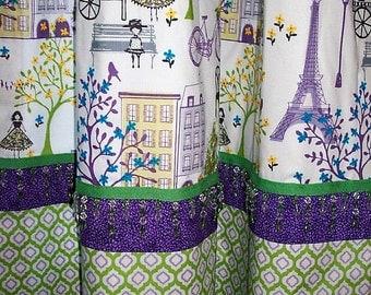 PARIS BEADED Drapery Panels / Ready to ship / 2 curtain panels / Girls bedroom drapes/ Purple & lime green colors