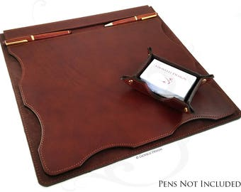 Leather Desk Mat with Business Card Holder / personalized / Office/ Boss Gift / Graduation / Degree / Business gift / desk pad / desk décor