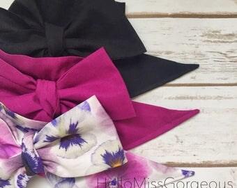 Gorgeous Wrap Trio (3 Gorgeous Wraps)- Noir, Boysenberry & Parisian Plum Floral Gorgeous Wraps; headwraps; fabric head wraps; headbands