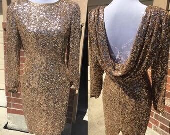 Vintage 1980's OLEG CASSINI BLACKTIE Gold Short Sequinied Dress with Back Sash size 6