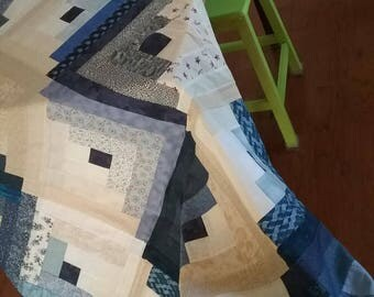 Large Log Cabin Quilt Top/Backing/Binding