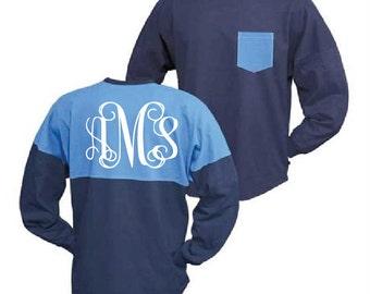75% OFF FINAL SALE Navy Blue and Light Blue Monogram Pocket Jersey