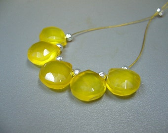 Yellow Gold Chalcedony Faceted Briolette Beads Set of 5