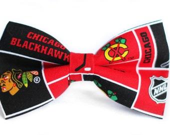 Chicago Blackhawks Bow Tie | Hockey Bow Tie | Sports Bow Tie | NHL Bow Tie | Gifts for Him | Bowtie | Kids Hockey Bow Tie | Coach Gift