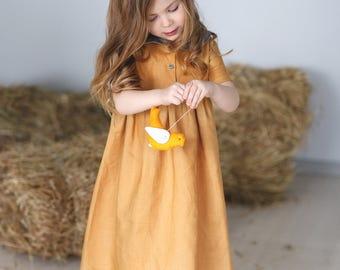 Girls linen dress-pink girl dress- checkered dress- girls spring dress- girls summer dress- organic dress- toddler linen dress-Mustard dress