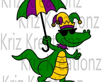 Mardi Gras Alligator svg cut file