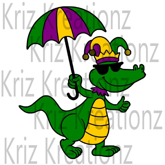mardi gras alligator svg cut file