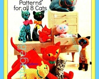 Cat SEWING PATTERNS 1960s Vintage Cats Sewing Pattern in PDF 8 Stuffed Toy Cats to meow lovingly as gifts or for your own pet friendly home