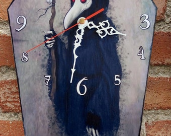 Wooden wall coffin-clock -Plague Doctor. Handmade wall clock. Coffin shaped. Gothic decoration.