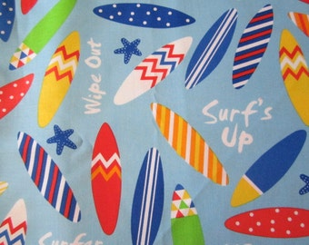 Ann Kelle Surf's Up fabric BTHY Light Blue Background Surfboards and Starfish Bright Primary Colors Designed for Robert Kaufman Super Cute!
