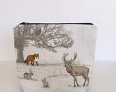 PRE-ORDER LISTING - Woodland Creatures craft project bag    knitting project bag    multipurpose storage bag