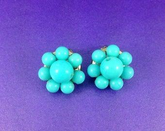 Vintage Turquoise Blue Earrings, Plastic Earrings, Gold Tone Clip On Earrings, Bead Earrings, Circa 1960