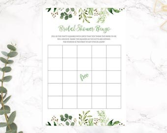 Rustic Bridal Shower Bingo, Bridal Shower Bingo, Floral Bridal Shower Bingo, Watercolor Bridal Bingo, Printable Digital, INSTANT DOWNLOAD