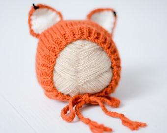 Bonnet newborn Fox Cap Fox baby 0-3 months, 9-12 months, crush orange sitting Fox photo