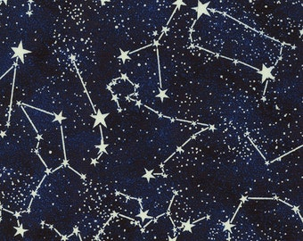 Timeless  Treasures - Glow In The Dark Constellations - CG2750-Midnight - Blue - Stars -  Constellations - Novelty - Juvenile -One More Yard