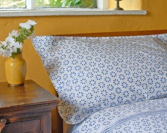 Blue/White Chukri Pillowcases Hand Block Printed on Organic Cotton