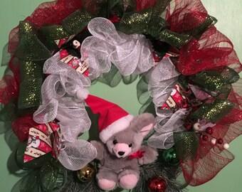 Christmas teddy bear wreath