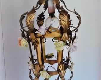 Vintage Italian Florentine Tole Porcelain Roses Chandelier Hanging Lamp