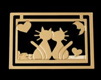 "Bookmark gold plated 24 k Duo ""Love cats"""