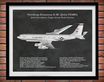 E-8C JSTARS Joint STARS Joint Surveillance Target Attack Radar System Aircraft Drawing - Art Print - Poster - Northrup Grumman Joint STARS