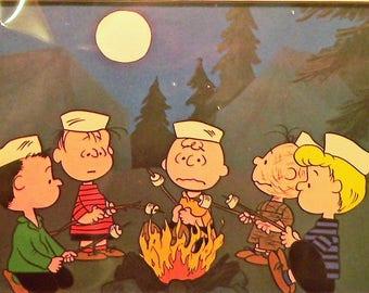 1970 Charlie Brown Matted Vintage Print Campfire
