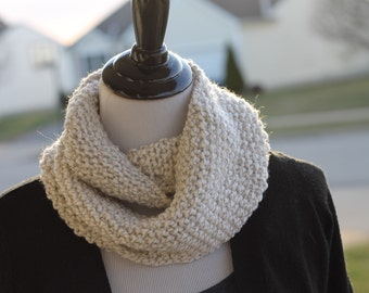 Seed Stich Knitted Infinity Scarf