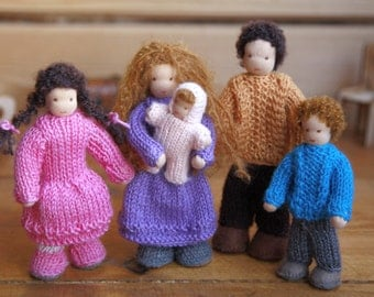 Waldorf inspired family for a dollhouse bendy small natural little tiny doll toy