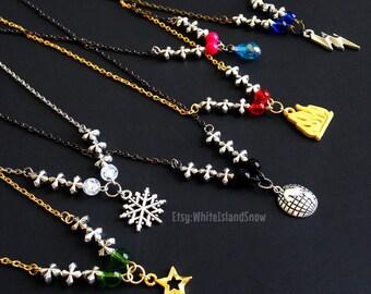 Elemental Ninja Necklace - Choose Fire, Lightning, Earth, Water, Ice, or Energy. Inspired by LEGO Ninjago: Masters of Spinjitzu Movie
