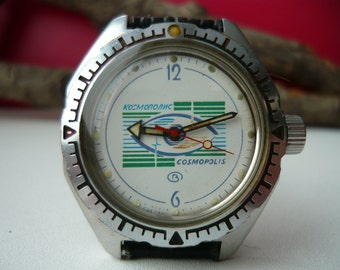 "Limited edition Vintage wostok wrist watch ""Cosmopolis"" / men's watch Vostok / military Soviet watch / Mechanical watch/ komandirskie vostok"