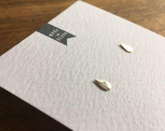 Gold Raindrop Stud Earrings (gold earrings, gold studs, raindrop earrings)