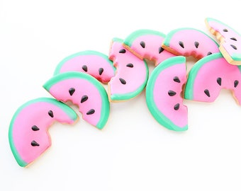14 Watermelon Cookies, Watermelon Sugar Cookies, Fruit Cookies, Watermelon Party Theme, Fruit Party Theme, Watermelon Gifts, Party Favors
