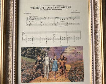 Wizard of oz sheet music prints - Somewhere over the Rainbow - We're off to see the Wizard - wizard of oz art - wizard of oz sheet music