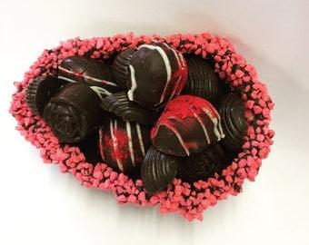 Luxury Dark Chocolate Raspberry Easter Egg, Dark Chocolate, Raspberry Truffles, Raspberry Crémes, Artisan Hand-made Chocolate, Cornish Food