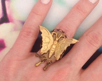 Ring any size Golden Butterfly