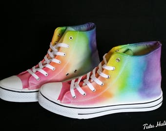 LGBT Pride Hightops - Rainbow Dyed Shoes - Tie Dyed Plimsolls - LGBT Plimsoles