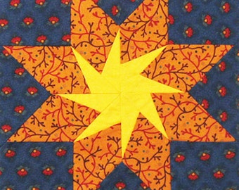 Threads of Memory. Civil War Quilt Pattern PDF BlockoftheMonth Sampler. 12 pieced star designs.